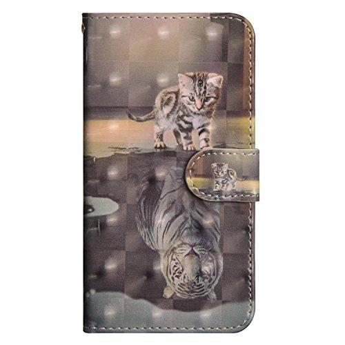 Karomenic - Funda de piel sintética 3D multicolor compatible con Samsung Galaxy J7 2017, Katze Tiger