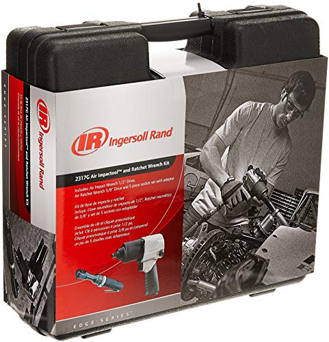 Ingersoll Rand 2317G Edge Series Kit with 231G Air Impact Wrench, 170G Air Ratchet Wrench, 5 Piece Socket Set and Storage Carry Case, Ergonomic Grips, Black