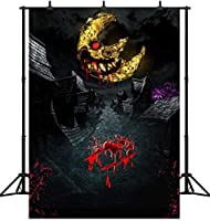 HD 7X5FTハロウィン恐ろしい月悪魔背景ハッピーハロウィンシームレスなビニール写真写真背景スタジオ小道具PGT432A
