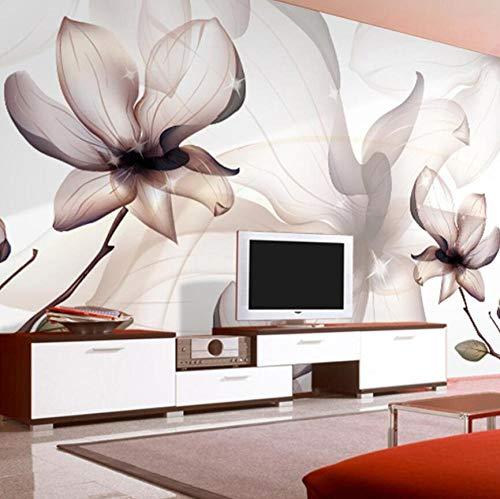 3D behang moderne kunst lotusbloesem transparant rook foto wand woonkamer eetkamer eenvoudige Home Decor Fresco @ 300 * 210