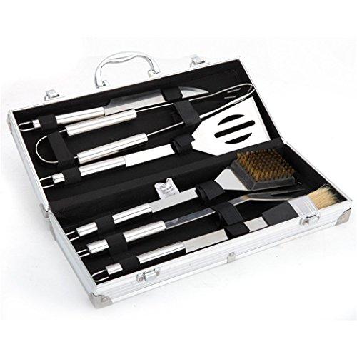 JasCherry 6 Pezzi In Acciaio Inox Barbecue Set Kit Con Custodia In Alluminio Scatola Box - Professionale Per BBQ Kit Accessori