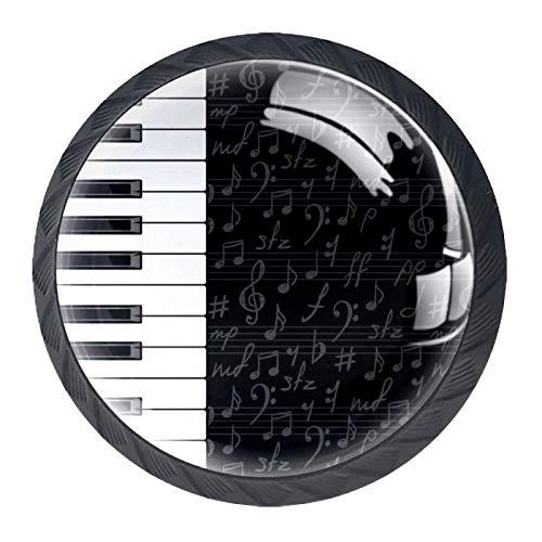 Schubladengriffe Ziehen Sie rundes Kristallglas für Home Kitchen Dresser Garderobe Piano Keys und musikalische Symbole