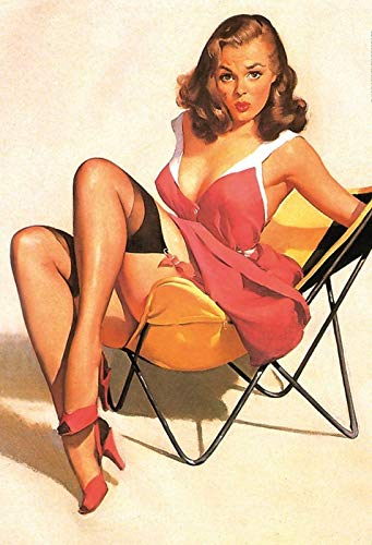 FS Pinup girl campingstoel metalen bord gebogen metalen teken 20 x 30 cm