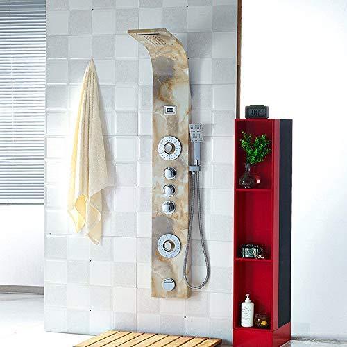 XZZPT-Shower Hochwertige Light Flower Marmor Duschwand Hochwertige Multifunktions-Duschsäule Duschset Duschbad Dusche Mischbatterie