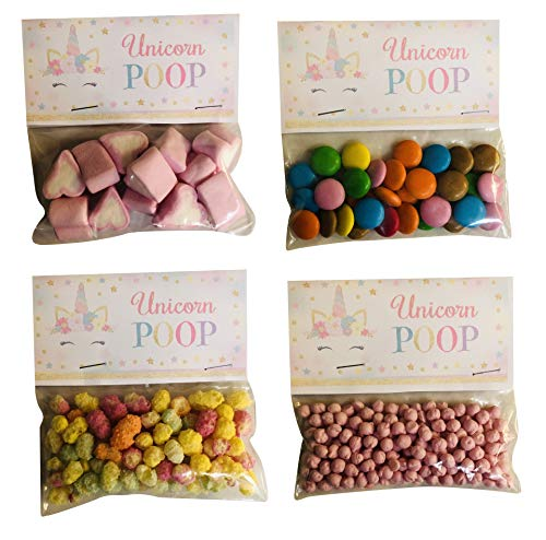 Unicorn Poo Poop Assorted Sweets Sweet Candy Bag Novelty Gift Party Favour - Rainbow Drops, Millions, Chocolate Pieces, Heart Marshmallows (Smarties)