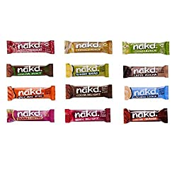 12 x 35g Nakd bars (Crunch bars and Nibble bars are 30g) Raw fruit and nut bars Gluten free, wheat free, dairy free, no added sugar An assortment of 12 different flavours included, may vary from those shown due Nothing artificial and never baked, hig...