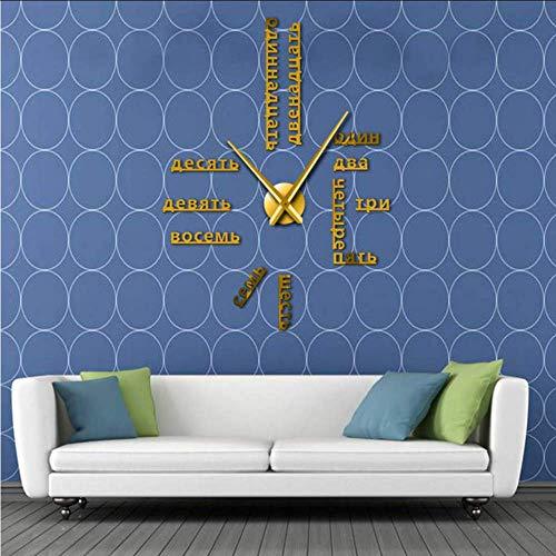 Djkaa Langue Étrangère Bricolage Géant Horloge Murale Grand Chiffres Russes Russes Grande Horloge Montre Bébé Chambre Préscolaire Décoration Russe Montre(47 inch)