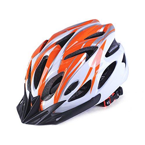 SHST Caschi per Biciclette in Bicicletta, Biciclette da Strada e Mountain Bike in Un Pezzo di elmetti da Ciclismo Maschili e Femminili per Adulti (Color : Orange White)