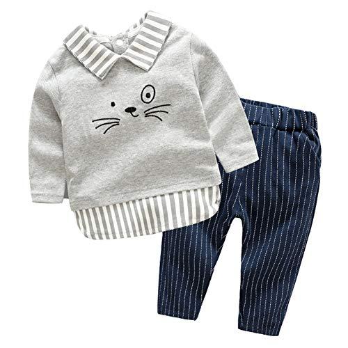 Mornyray 2 STÜCK Kleinkind Baby Jungen Frühling Herbst Winter Baumwolle Britische Sanfte Outfit Hemd Hosenanzug Set 0-2 T Size 80 (Gray)
