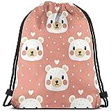 huatongxin Tote School Rucksack,Unisex Bolsa de Hombro,Drawstring Backpack,Bolsa de Gimnasio Ligera,Lovely Bear Gym Sack Bag,Travel String Pull Bag,Sport Cinch Pack
