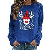 Elegante jersey de manga larga para mujer, diseño de renos rojos, ideal para invierno, de manga larga, azul, M