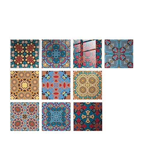 10 adhesivos para azulejos, adhesivos de pared, impermeables, pasta de azulejos, lámina decorativa para azulejos, autopelar y pegar, adhesivos 3D para cocina, baño, 10 x 10 cm (E)