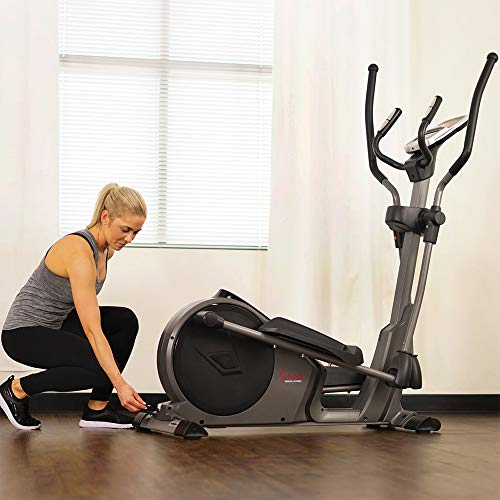 Product Image 13: Sunny Health & Fitness Magnetic Elliptical Trainer Machine w/Device Holder, Programmable Monitor and Heart Rate Monitoring, 330 LB Max Weight – SF-E3912, Silver