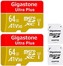 Gigastone 64GB 2-Pack Micro SD Card, A1 V30 Run App for Smartphone, UHD 4K Video Recording, High Speed 4K Gaming 95MB/s, Micro SDXC UHS-I U3 C10 Class 10 Memory Card with Adapter