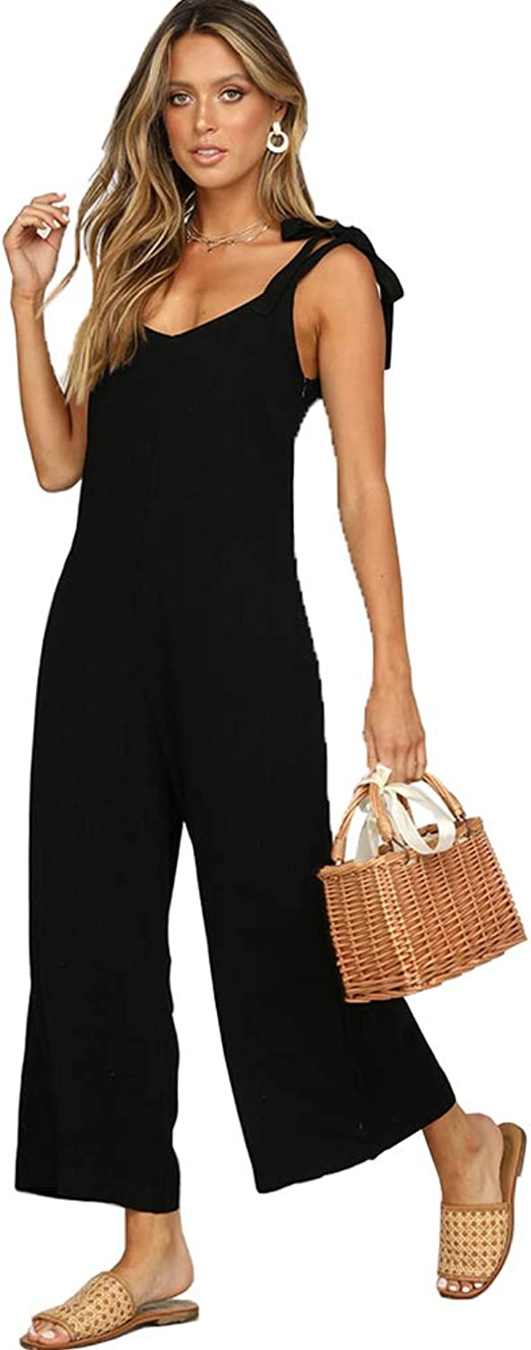 ALAIX Women's Cotton Casual Loose V Neck Sleeveless Bow Tie Shoulder Wide Leg Jumpsuits Rompers with Pocket