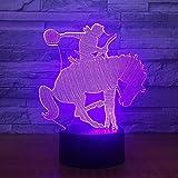 Espectáculo ecuestre de carreras de caballos 3D, luz nocturna LED, lámpara visual USB, decoración de dormitorio, iluminación para dormir para bebés, 7 colores que cambian, regalos para niños