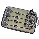 Hirisi Tackle Karpfen Angeln Bissanzeiger-Set mit umschaltbarem LED Farbe beleuchtet Swinger 4in...