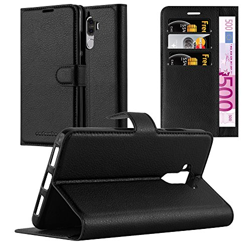 Cadorabo Hülle für Huawei Mate 9 in Phantom SCHWARZ - Handyhülle mit Magnetverschluss, Standfunktion & Kartenfach - Hülle Cover Schutzhülle Etui Tasche Book Klapp Style