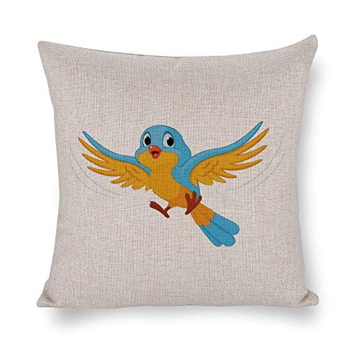 shenguang Coral Yellow Birds Chatting Cotton Linen Square Throw Pillow Cases Cushion Covers for Bed Sofa Couch Car Home Decor