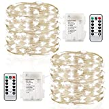 GDEALER 2 Pack Fairy Lights Christmas Decor 20 Ft 60 Led Battery Operated Christmas Lights with…