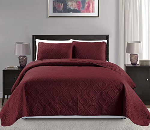 Mk Collection 3pc King/California King Over Size 118'x 106' Diamond Bedspread Bed Cover Embossed Solid Burgundy New #Diamond Burgundy