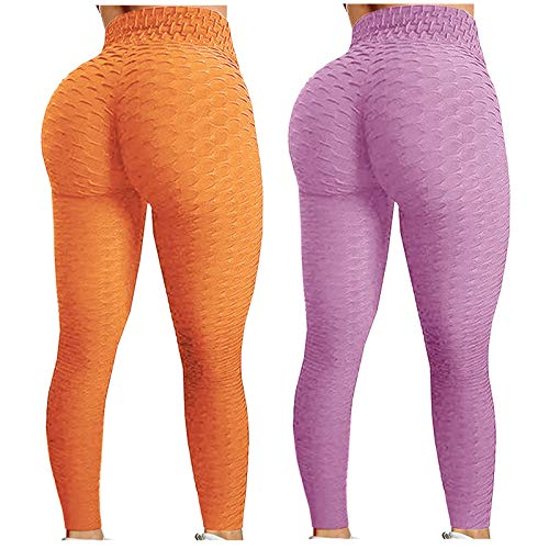 2 polainas famosas TIK Tok, para mujer, con burbujas de cadera, levantamiento de glúteos, entrenamiento y control de barriga, medias de yoga - - X-Small