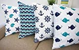 "Beach Theme Howarmercanvas Aqua Blue Decorative Pillow Covers Beach Theme Pillow Case Set of 4 - Fishes,anchors,sea Stars and Chevron 18"" X 18"""