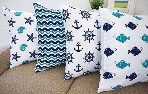"Beach Theme Howarmercanvas Aqua Blue Decorative Pillow Covers Beach Theme Pillow Case Set of 4 - Fishes,anchors,sea Stars and Chevron 18"" X 18"""