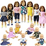 ZITA ELEMENT Vêtements de Poupées:7pcs Mode Costumes Tenues pour Poupée 18 Pouces Poupée Bébé 45cm-46cm American Girl Madame Alexander Our Generation Dolls Clothes Vêtements Cadeau Noël