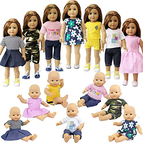 ZITA ELEMENT 7er Daily Puppen Kleidung Kleider Outfits für 43-46 cm Babypuppe und 18 Zoll American Girl Doll Puppe Kleidung Bekleidung