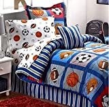 Boys Sports Patch Football Basketball Soccer Balls Baseball Blue Comforter Set (Twin Size 6pc Bed in A Bag)