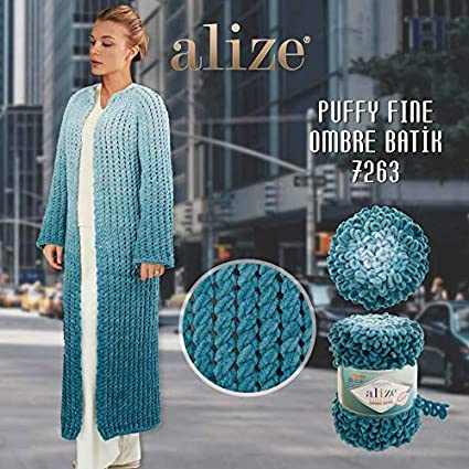 Alize Puffy Ombre Batik 500gms Yarn No Needles Or Crochet Hook Required 7243