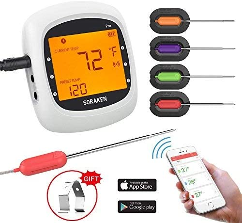 Wireless Meat Thermometer for Grilling, Bluetooth Meat Thermometer Digital BBQ Cooking Thermometer with 4 Probes, Ala...
