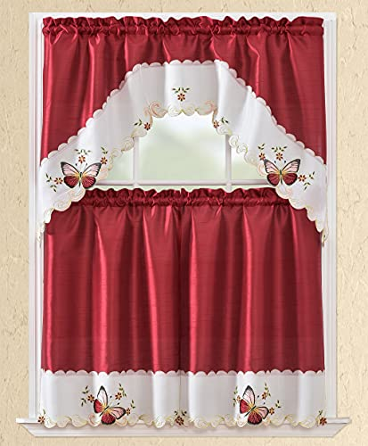 3pc Rod Pocket Embroidered Kitchen Curtains and Valances Set Swag Curtains & Tier Set 36 Inch Length Burgundy Butterfly