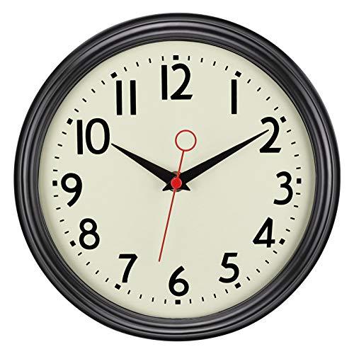 Foxtop Horloge murale silencieuse à piles classique rétro sans tic-tac à quartz décorative ronde 23 cm facile à lire pour la maison, le bureau, l'école (noir)