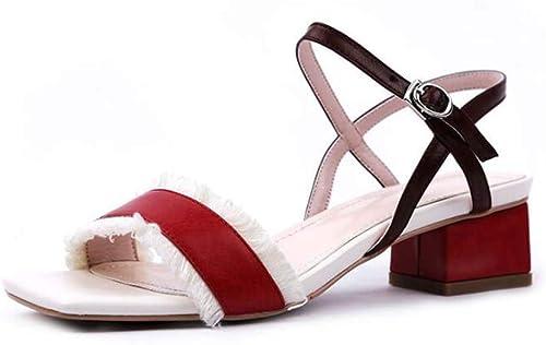 SHINIK Femmes Ouvert Toe Sandales D'été Nouvelle Mode Carré Carré Boucle Tête Pompes Taille 34-43  marque de luxe