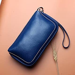 Leather Women's Wallet with A Cowhide Leather Cosmetic Wallet Leather Long Wallet Waterproof (Color : Blue, Size : S)