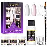 VOXURY Set Polvere e Liquido Acrilico Per Unghie - 3 Colori Rosa Chiaro Bianco e Un Monomero Liquido, Polvere per Unghie Acriliche