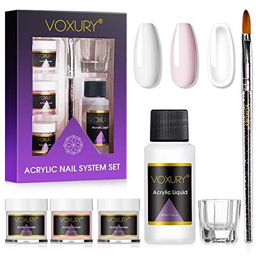 Voxury Set mit Acrylpulver und Flüssigkeit, 3 Farben, Transparent, Rosa, Weiß und ein flüssiger Monomer, Nagelkunst-Pulver für Acrylnägel