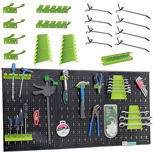 TrutzHolm® Werkzeugwand aus Metall mit 17 teilge Hakenset Werkzeuglochwand 120 x 60 x 2,5 cm Lochwand für Werkstatt, Schwarz und Grün