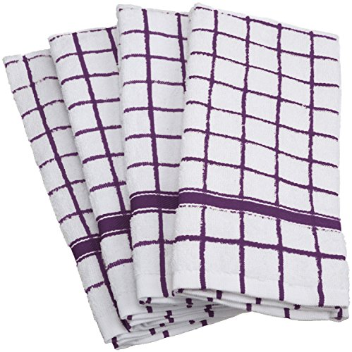 """DII Cotton Terry Windowpane Dish Towels, 16 x 26"""" Set of 4, Machine Washable and Ultra Absorbent Kitchen Bar Towels-Eggplant"""