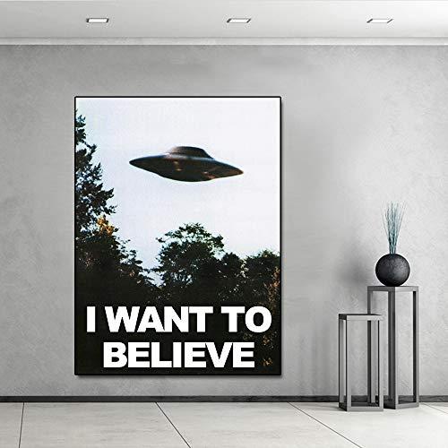 JXFFF Ich möchte glauben, DASS das Archiv Kunst Seide oder Leinwand Poster UFO TV-Serie drucken Leinwand Malerei Wanddekoration Malerei Heimdekoration