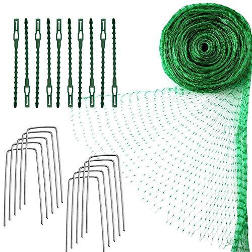 HilMe Filet de protection anti-oiseaux, 4 x 10 m pour plantes de jardin en maille filet d'arbres fruitiers avec attaches de câble et piquets en forme de U, Pas de zéro, Vert, Taille unique