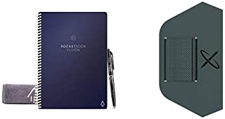 """Rocketbook Fusion Smart Reusable Notebook - Calendar, To-Do Lists, and Note Template Pages with 1 Pilot Frixion Pen - Midnight Blue Cover, Executive Size (6"""" x 8.8"""") & Pen/Pencil Holder (Pen Station)"""