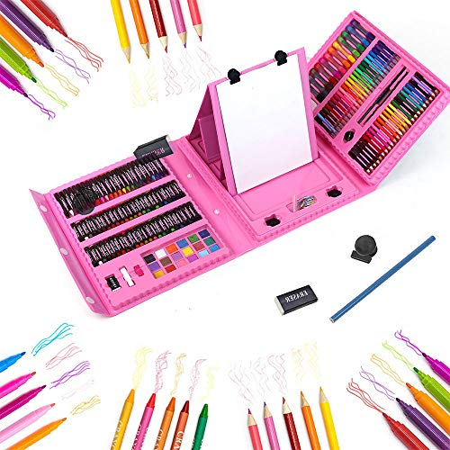 KAIZERUI 208 pcs Double Sided Trifold Easel Art Set, Portable Painting & Drawing Kit for Kids with Oil Pastels, Crayons, Colored Pencils, Markers, Paint Brush, Pads, Great Gifts for Kids, Beginners