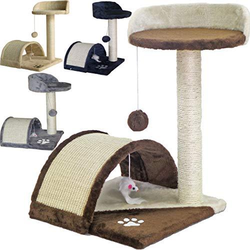 TIRAGRAFFI per Gatti Alto 52 CM. Base 40 X 40 CM (Il Piu' Grande Online) GRAFFIATOIO Parco Giochi Gioco Gatto SISAL Cuccia Albero Tira GRAFFIO Palestra - Marrone-Beige