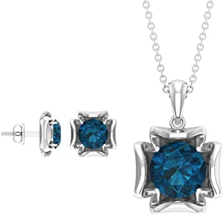 Rosec Jewels - 3.9 CT London Blue Topaz Pendant Set With Earrings, Solitaire Pendant (AAA Quality)