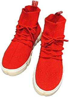 Lacets Femme Sport Chaussures Maille Respirante Fly Tissé Sport Chaussures Casual Slip on Sneakers Chaussures De Marche (r...