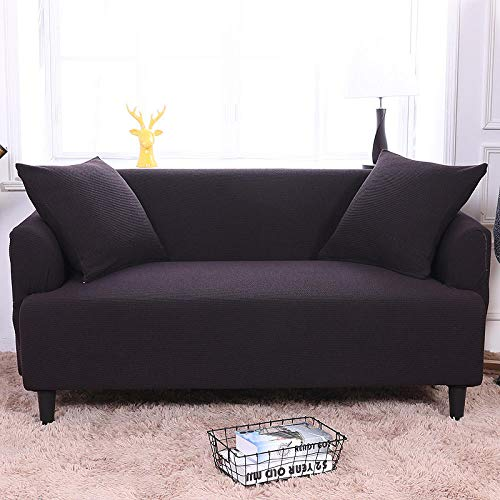 HXTSWGS Housse de Canapé d'angle,Elastic Sofa Cover, Living Room Sofa Cover, Elastic Furniture Cover-Black-Brown_190-230cm