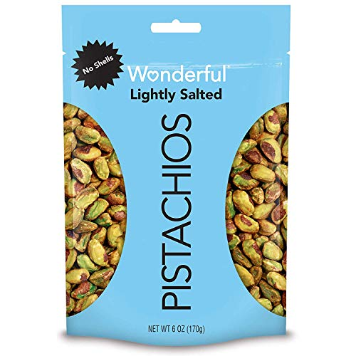 Wonderful Pistachios, No Shells, Roasted and Lightly Salted, 6 Ounce Resealable Bag - PACK OF 4